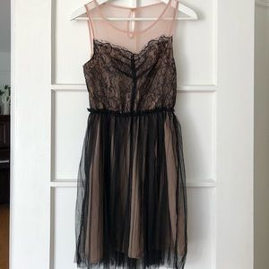 Pink and black lace & tulle dress